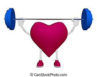 Heart training weight heart health sport concept on white...