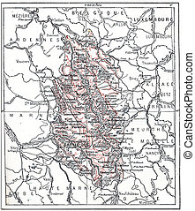 Topographical Map of Meuse in Lorraine, France, vintage engraved illustration. Dictionary of Words and Things - Larive and Fleury - 1895