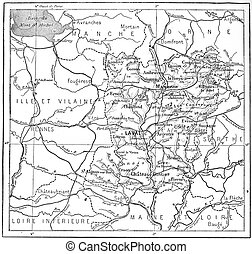 Topographical Map of Mayenne in Pays de la Loire, France, vintage engraved illustration. Dictionary of Words and Things - Larive and Fleury - 1895