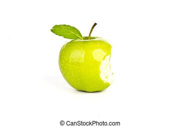 fresco, verde, maçã, mordida, isolado, branca,...