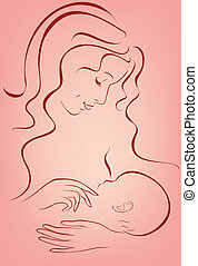 Breastfeeding - young woman breastfeeding a newborn baby