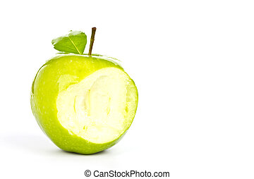 Fresh green apple with a bite isolated on white background