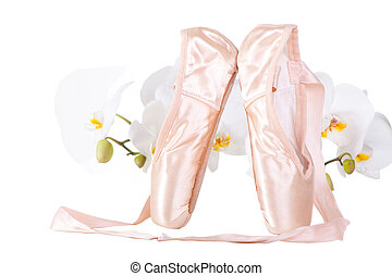 ballet pointes with orchids on isolated white - Pink satiny...