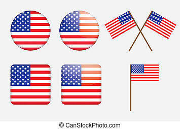 badges with United States flag