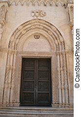 Cathedral of Sibenik - Beautiful carved door of the...