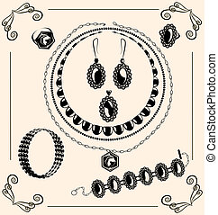 vintage jewel - on vintage background are black outlines...