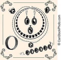 vintage jewel - on vintage background are black outlines...