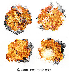 Fire collection - Fire explosions, isolated on white...