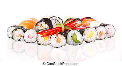 Sushi food - Sushi pieces, isolated on white background