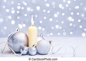 White Christmas ornament and candle