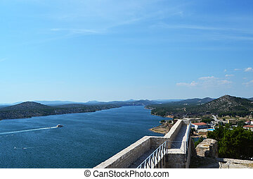 Sibenik - View of the Croatian coast from the ruins of the...