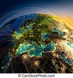 Main air routes in Europe - Highly detailed planet Earth at...