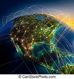 Main air routes in North America - Highly detailed planet...