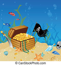 Underwater treasure chest - Vector illustration of an...