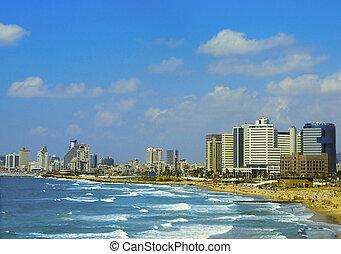 Tel Aviv Beach - hotels on a Tel Aviv beach at sunny day