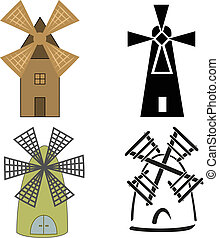 windmills - Color and black-and-white sketches of windmills...