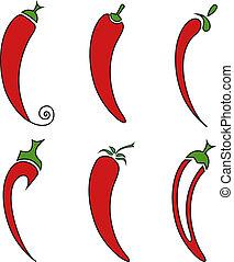 Pepper - Hot chilli pepper vector set isolated on white...