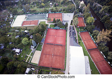 Highly detailed aerial city view with gardens, tennis...