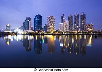 Bangkok Night time - night time of Bangkok with water...
