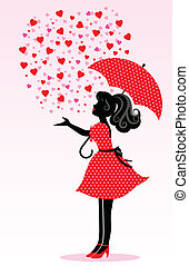 rain of love - silhouette of a girl under a rain of hearts