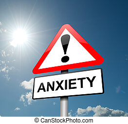 Anxiety warning - Illustration depicting a red and white...