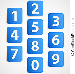 Ten blue 3d banners with numbers Vector illustration