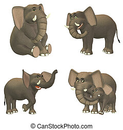 Elephant Pack - Illustration of a pack of four (4) elephants...
