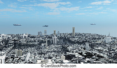Futuristic Science Fiction City - Aerial view over a...