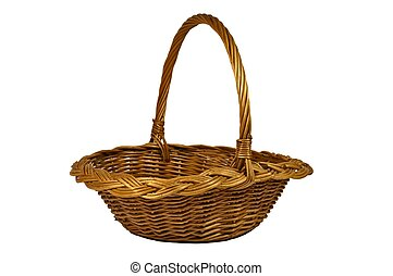 Wicker Basket - Wicker basket isolated on white background,...