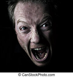 Anger - Self Portrait - Man Shouting, screaming in anger