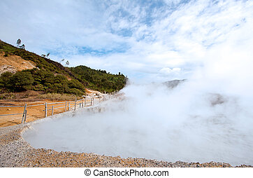 Sulfur Pool Indonesia - Sulfur Mud Volcano Pool on Plateau...