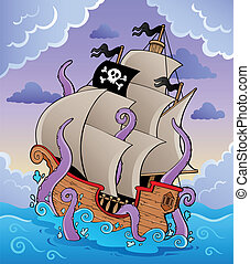 Pirate ship with tentacles in storm - vector illustration.
