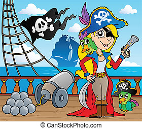 Pirate ship deck theme 9 - vector illustration.