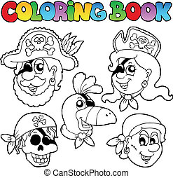 Coloring book with pirate topic 5 - vector illustration.