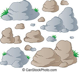 Various stones collection 1 - vector illustration.