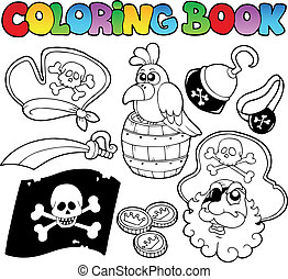 Coloring book with pirate topic 4 - vector illustration