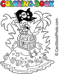 Coloring book with pirate topic 3 - vector illustration