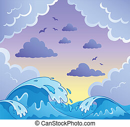 Waves theme image 2 - vector illustration.