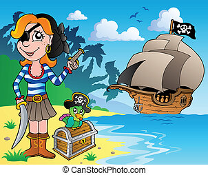 Pirate girl on coast 1 - vector illustration.