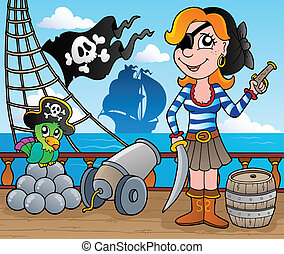 Pirate ship deck theme 8 - vector illustration