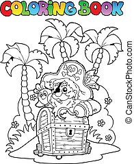 Coloring book with pirate topic 1 - vector illustration.