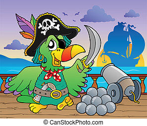 Pirate ship deck theme 5 - vector illustration.