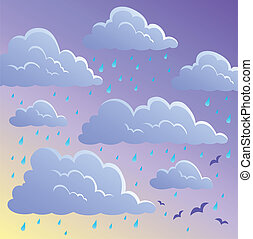 Cloudy sky background 4 - vector illustration.