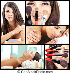 Beauty care - Collage of a beautiful woman taking care of...