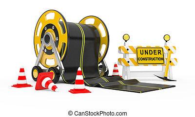 Road works. 3d under construction illustration