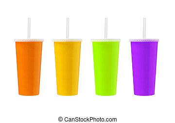 Fruit Juices in Paper Cups on White Background