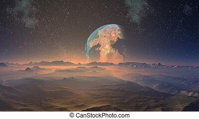 Huge blue planet against a fantasti