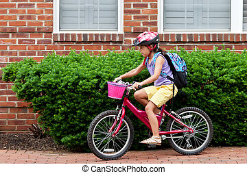 Kids Biking to School - May 9, 2012 - Arlington, Virginia,...