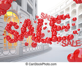 Retail street with Sale word consist of bubbles.