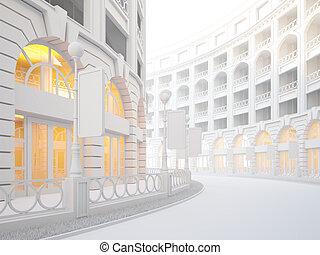 Atmospheric empty street of retail stores - A 3d...